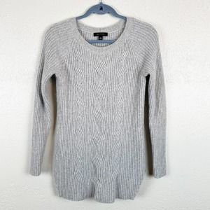 Ann Taylor Cable Knit Wool Alpaca Sweater Gray XS